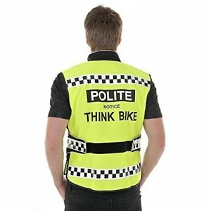 EQUISAFETY POLITE THINK BIKE HI VIS WAISTCOAT - BLACK TAPE - WORN BY MET POLICE