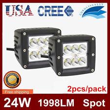 Pair 3inch 24W Cree LED Spot Cube Work Lights Flush Mount Bar Lighting Pods SALE