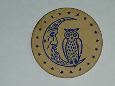 Vintage Clay Poker Chip Owl on Crescent Moon White Impressed