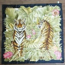 SALVATORE FERRAGAMO Scarf Stole Tiger Animal Silk 100% Woman Auth New Unused