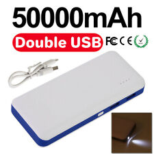 50000mAh Power Bank Dual USB Portable External Battery Phone Charger Emergency