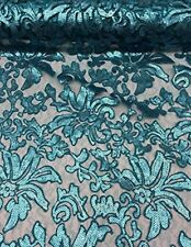 """56"""" Turquoise Floral Fashion with Sequins Lace Dress Gowns Fabric By the Yard"""