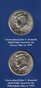 USA , JOHN F. KENNEDY UNCIRCULATED HALF DOLLARS X 2 MINT STILL SEALED  199