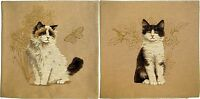"""SET OF TWO CAT 18"""" TAPESTRY CUSHION COVER 5113 + 5115 (CAT/BIRD & CAT/BUTTERFLY)"""