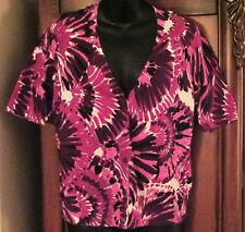 Designers Originals Multi-Color Short Sleeve Sweater SZ Petite PL EUC Womens