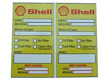 SHELL Oil Change servizio PROMEMORIA AUTOADESIVI - 2x