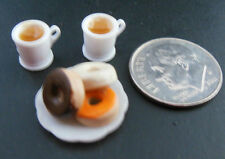 Dollhouse Miniatures Handcrafted Halloween plate frosted donuts w/2 filled mugs