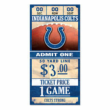 Indianapolis Colts Old Game Ticket Wooden Sign 11 13/16in Nfl Football Wood Sign