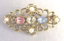 Vintage 1928 Company Pink Blue Yellow Rhinestone Faux Pearls Goldtone Scroll Pin