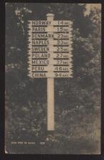 Postcard CHINA PERU PARIS ETC ME Milage Sign Post 1920s
