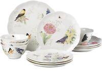 Lenox Butterfly Meadow Fluttering Birds 12-Pc. Dinnerware Set, Service for 4 NEW