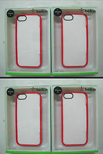 4 x QUALITY BELKIN Ruby/Clear View Case iPhone 5 and iPhone 5s F8W153qeC05 [F33]
