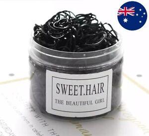 20-400pcs Elastic Rubber Hair Ties Hair Band Ropes Women's Ponytail Holder Black