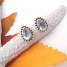 Blautopas blau Tropfen Design hell Ohrstecker Ohrringe 925 Sterling Silber neu