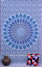 Indian Mandala Bohemian White Tapestry Twin Wall Hanging Home Decor Cotton Throw