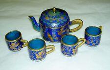Miniature Cobalt Blue Cherry Blossom Flower Bird Teapot 4 Cups Cloisonne Tea Set