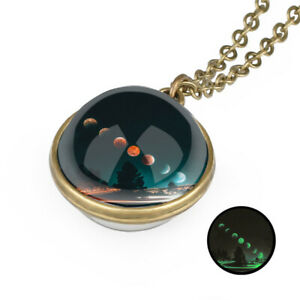 Glow In the Dark Galaxy Double Sided Glass Planet Nebula Necklace Pendant New