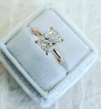 2 Ct Radiant Cut Moissanite Solitaire Engagement Ring In Real 14k Yellow Gold