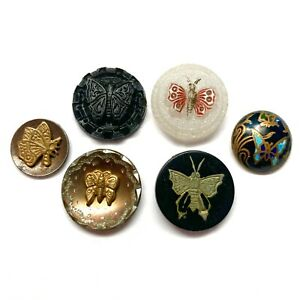 Antique Buttons ~ Lovely 19th Century w Butterflies inc Inlay, Enamel, Clambroth