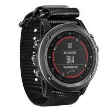 10x(For Garmin Fenix 3 /HR Nylon Strap Wrist Watch Band Black CT G2S6