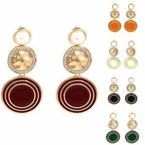 Long Drop Beaten Earrings Statement Boho Gold Style Large Ear Stud Pearl Colours