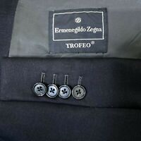 Ermenegildo Zegna Trofeo Wool 3 Button Blazer Black Sport Coat Men's Size 44 R