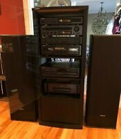 Onyko Stereo Rack System with speakers and glass cabinet