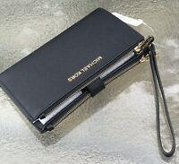 Michael Kors Black  Saffiano Leather Jet Set Double Zip Phone  Wallet Wristlet