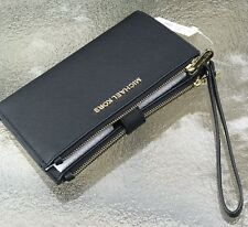 Michael Kors Black  Saffiano Leather Jet Set Double Zip Phone  Wallet Wristlet