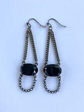 Black Crystal Chandelier Earrings Antique Brass Pearl Chain Dangle Vintage Style