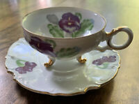 Footed Teacup And Saucer - Hand Painted White With PurpleAnd Gold - Ucagco Japan