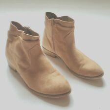 Graceland 41 Suede Ankle Boots Booties Tan Zip Up Side Festival Western
