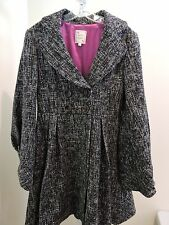 Nanette Lepore Made in USA Wool Blend Black & White Lined Coat Size - 10