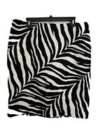 New Women Talbots Black White Zebra Animal Print Lined Modest Pencil Skirt Sz 16