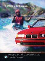 1996 BMW 325i Convertible Original 2-page Advertisement Print Art Car Ad J806