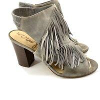 Sam Edelman Size 9 Elaine Grey Suede Leather Fringe Chunky Heel Sandal Womens