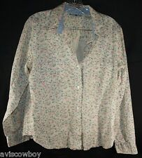 White Stag 100% Cotton White Hawaiian Pink Flowers Button Up Top Shirt Women's L