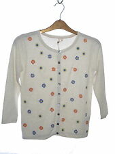 White Stuff Narural Coloured Cardigan Embroidered Design Size 6 NWOT