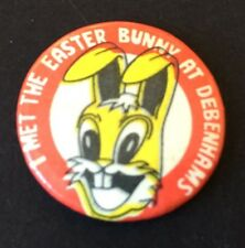 Vintage Badge I MET THE EASTER BUNNY AT DEBENHAMS Rabbit PIN 2.3cm