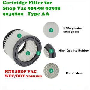 1 PACK 90398 filter for shop vac 903-98 90398 9039800 Type AA fits Shop Vac
