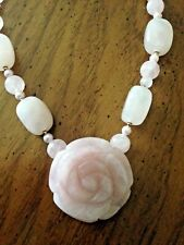 Lee Sands Rose Quartz w Crystal Beads Freshwater Pearls Flower Pendant Necklace