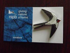 RSPB GNaH swallow Metal Pin Badge on blue FR Card