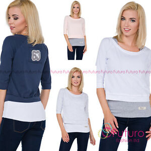 Ladie's Half Sleeve Jumper 2 in 1 Twin Top Blouse Tshirt One Size FT3072