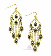 Beauty for Ashes Gold Plated Black Crystal Peacock Feather Chandelier Earrings