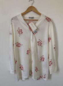 David Nieper Damen Bluse Shirt Knopfleiste Größe großen weißen rosa Blumenmuster Stretch