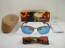 ee9015d5783 MAUI JIM SHOAL POLARIZED SUNGLASSES B797-17M SILVER FRAME BLUE HAWAII GLASS  LENS