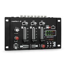 DJ Controller Mixer Mischpult USB 3/2-Kanal Mic Phone Cinch Einsteiger Schwarz
