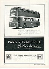 Park Royal Vehicles Great Yarmouth ROE Double Deck Bus 1964 Vintage Advert