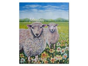 Sheep in field of daffodils print by Monica LaTanya A4