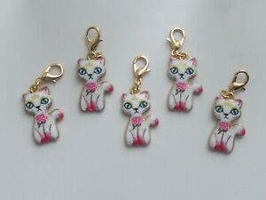 Set 5 Stitch Markers ENAMEL CATS Knitting, Crochet, Crafts,Charms,Accessories